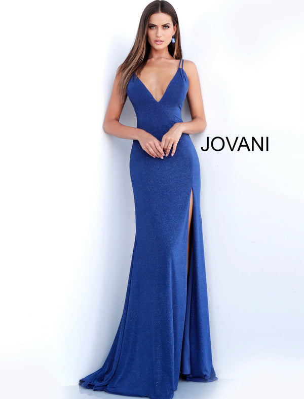 f1fcf832bee2 Navy V Neck Backless Fitted Glitter Prom Dress 58557 ...