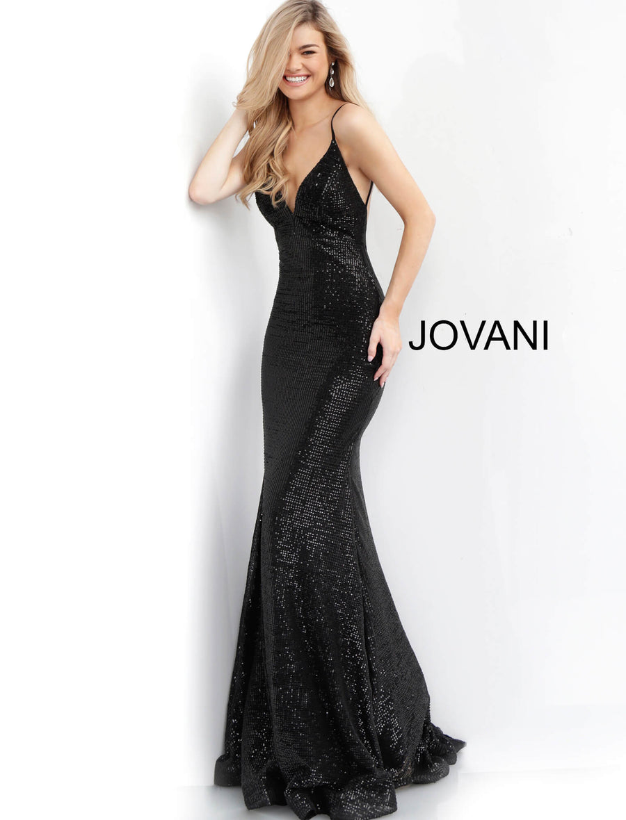 Black Fitted Backless Sequin Prom Dress 59691