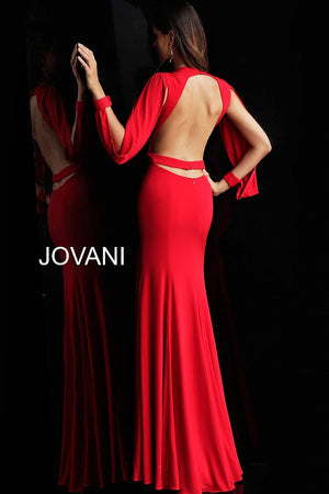 Red Long Sleeve Open Back Prom Dress - Channy Bride & Beyond