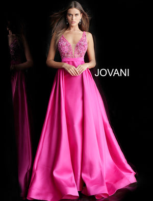Fuchsia Embellished Bodice V Neck Prom Gown 60016 - Channy Bride & Beyond