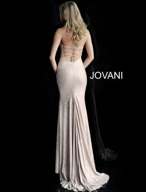 Blush High Neck Fitted Sleeveless Prom Dress 60137
