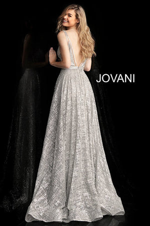 Silver V Neck Glitter Embellished Prom Gown - Channy Bride & Beyond