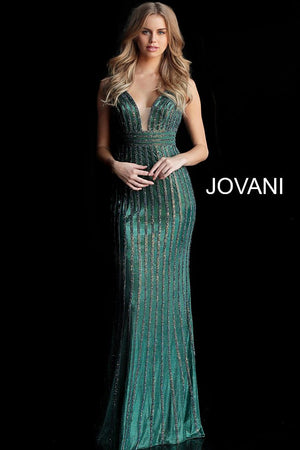 Green Beaded Plunging Neckline Prom Dress