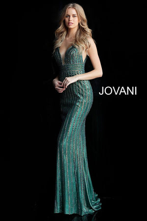 Green Beaded Plunging Neckline Prom Dress - Channy Bride & Beyond