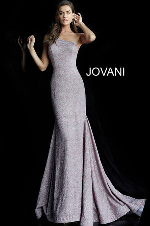 Mauve One Shoulder Sleeveless Glitter Prom Dress