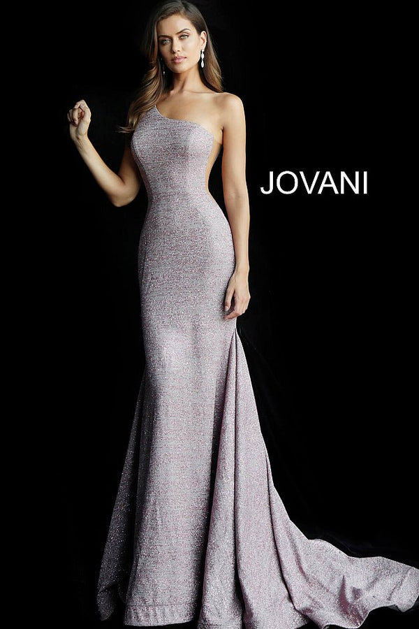 Mauve One Shoulder Sleeveless Glitter Prom Dress - Channy Bride & Beyond
