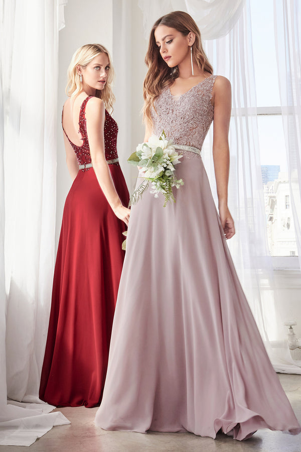 9173 A-line chiffon gown with embellished lace bodice and belt.