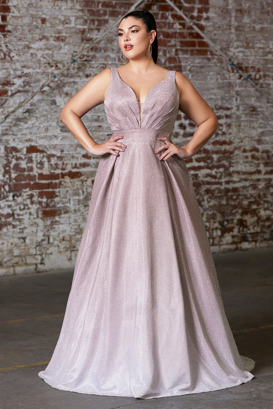 9174C A-line ombre gown with pleated deep v-neckline and open back.