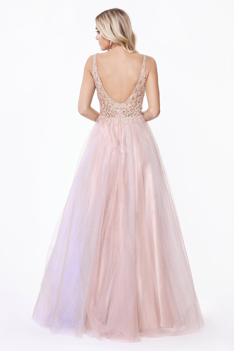 AB198 A-line layered tulle gown with beaded floral applique bodice and open back.