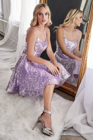 AM398 A-line sequin short dress with straight neckline and lace up corset back. - Channy Bride & Beyond