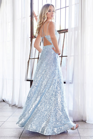AM518 Fully sequined ball gown with straight neckline and lace up corset back.