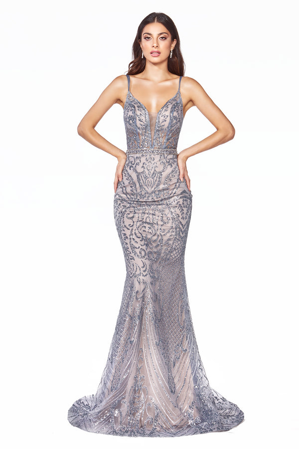 C24 Slim fit gown with glitter print details and deep plunging neckline. - Channy Bride & Beyond