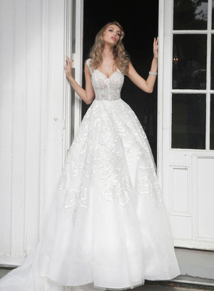 Off White Embellished V Neck Wedding Dress - Channy Bride & Beyond