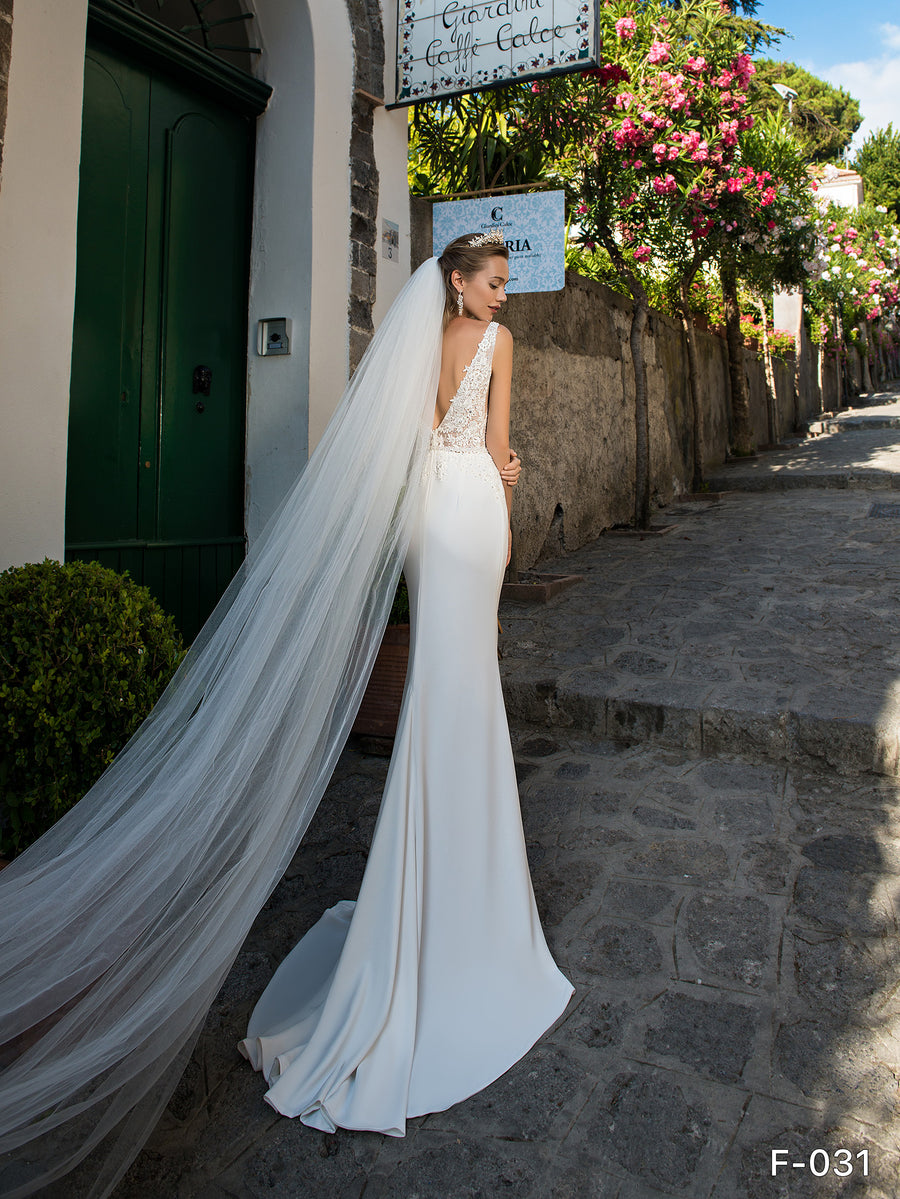 Bridal Wedding Veil Long Cut Edge with Comb White Ivory Off-white