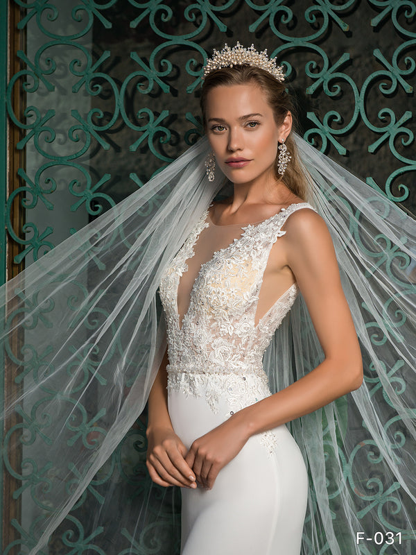 Bridal Wedding Veil Long Cut Edge with Comb White Ivory Off-white - Channy Bride & Beyond
