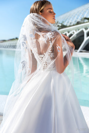 White Wedding Veil Chapel Waist Length Pearl CBBF065 - Channy Bride & Beyond