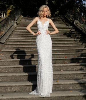 Off White Embellished Plunging Neck Bridal Dress - Channy Bride & Beyond