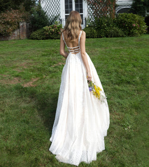 Ivory Nude Plunging Neckline Sleeveless Wedding Ballgown - Channy Bride & Beyond