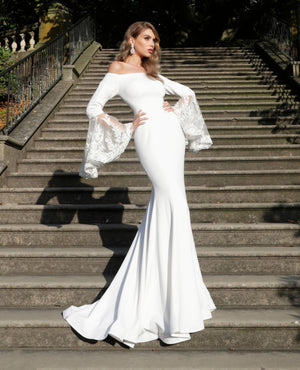 Off White Long Bell Sleeves Wedding Dress