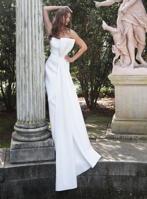 White Strapless Scuba Wedding Dress - Channy Bride & Beyond