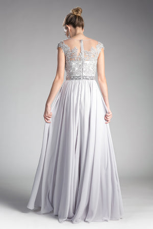 UJ0011 A-line chiffon gown with beaded lace top and closed back.