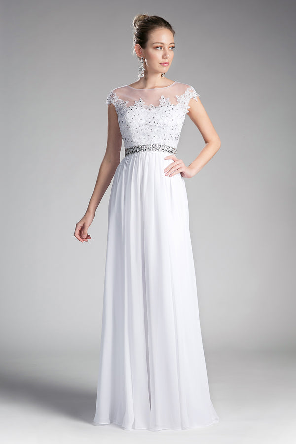 UJ0011 A-line chiffon gown with beaded lace top and closed back. - Channy Bride & Beyond