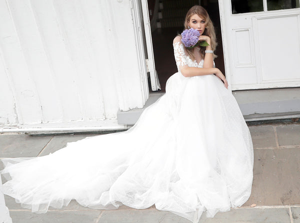 Off White Short Sleeves Embroidered Wedding Gown