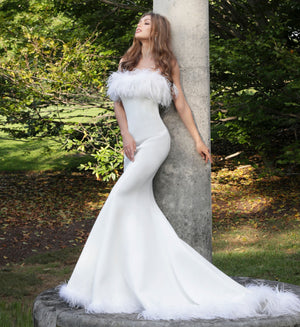 White Feather Neckline Strapless Mermaid Wedding Dress - Channy Bride & Beyond