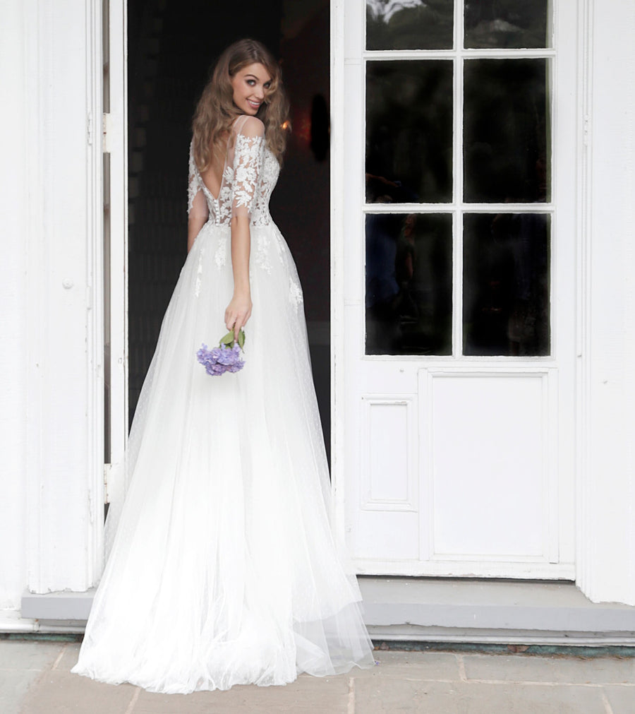 Off White Short Sleeves Embroidered Wedding Gown - Channy Bride & Beyond