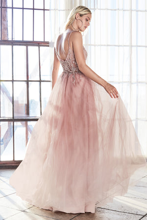 AM321 A-line gown with a layered sparkle tulle skirt and embellished bodice. - Channy Bride & Beyond