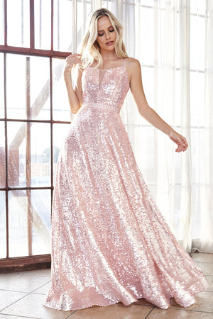 AM518 Fully sequined ball gown with straight neckline and lace up corset back. - Channy Bride & Beyond