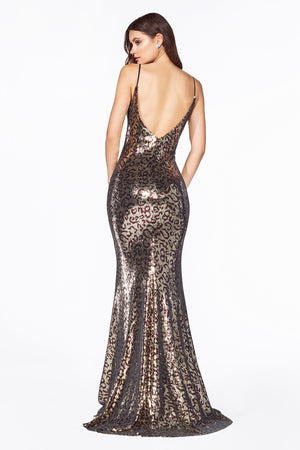 C19 Fitted sequin gown with leopard print and cowl neckline. - Channy Bride & Beyond