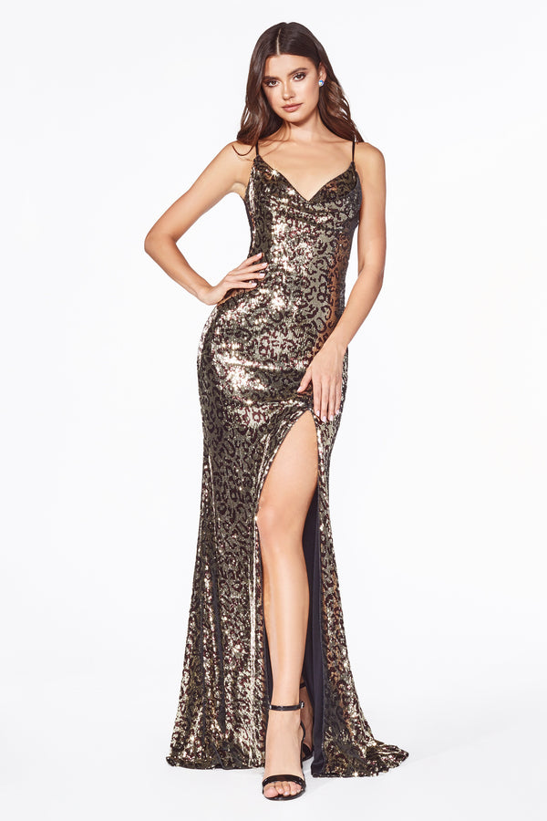 C19 Fitted sequin gown with leopard print and cowl neckline.