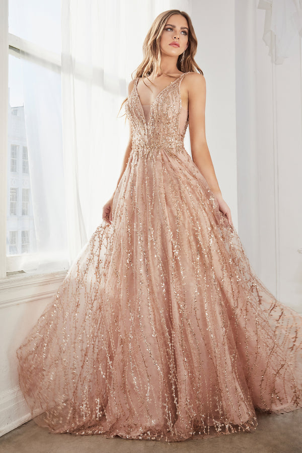 C32 Ball gown with layered tulle and glitter lace print.