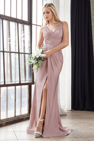 C81730 Fitted stretch jersey gown with gathered belted waistline and leg slit.