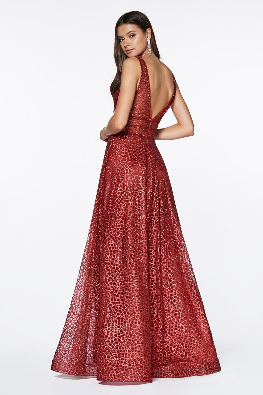 Metallic Knit A - Line Gown