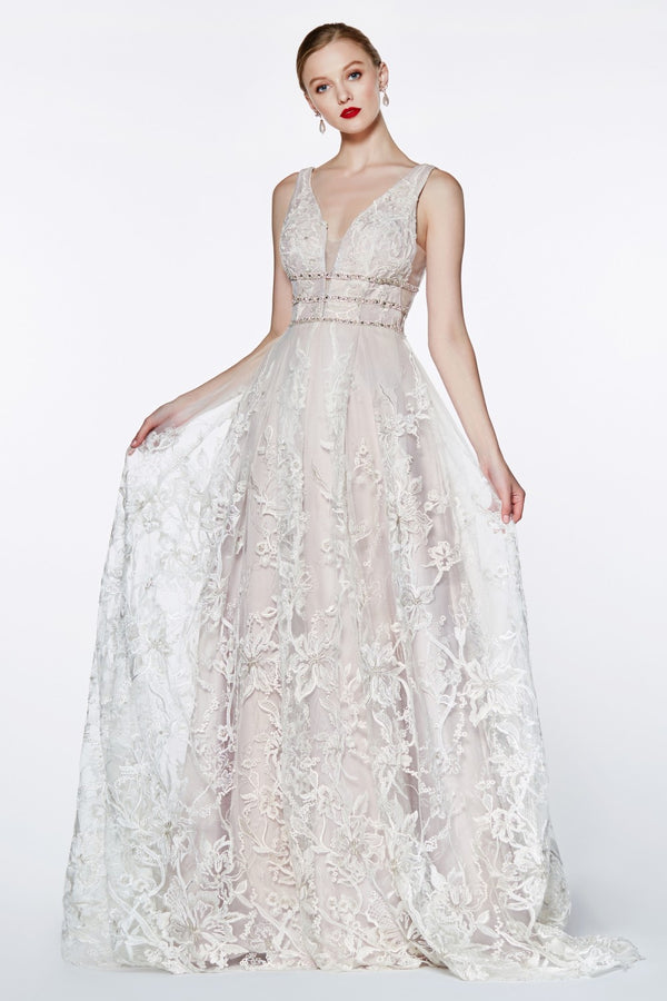 CR823 A-line floral lace gown - Channy Bride & Beyond