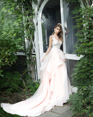 Blush Embroidered Bodice Wedding Gown