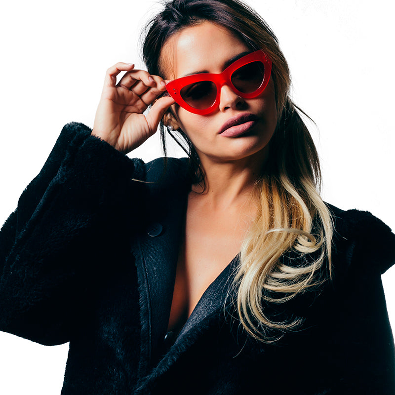 YANNI RED BY WILDE SUNGLASSES.