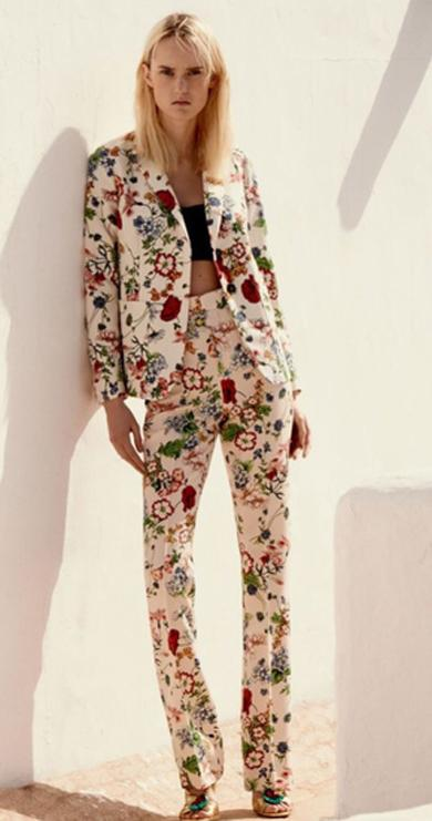 2 piece flower colorful pants & jacket