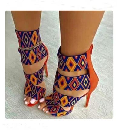 Orange paterns heels