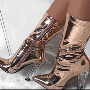 cute shiny gold heels