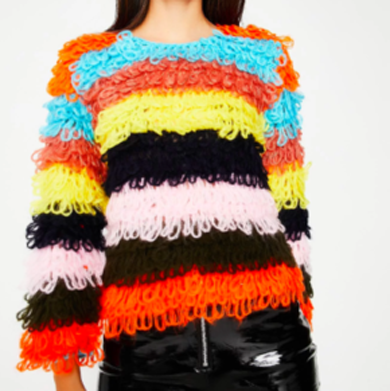 rainbow fuzzy striped sweater