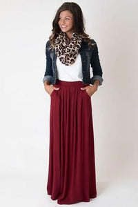 Candy Color Pleated Maxi Skirts