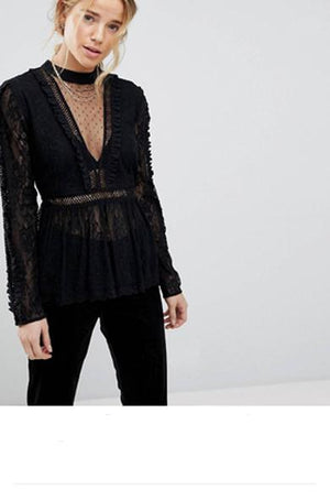 Deep V Neck Lace Blouse