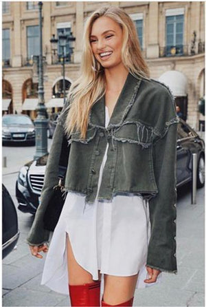 Denim fringed jacket