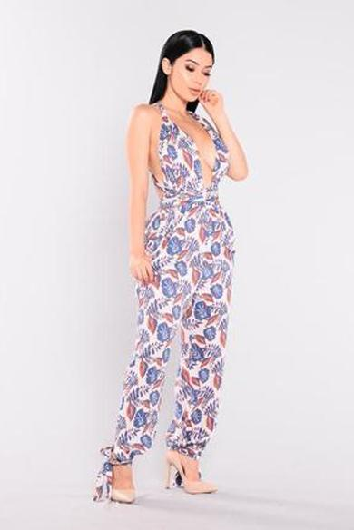 tropical print halter jumpsuit