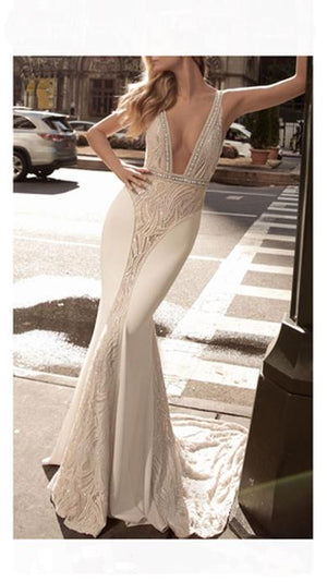 Deep V Floor length Dress