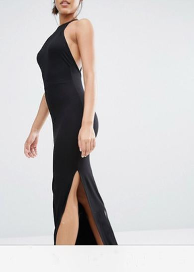 halterneck long dress