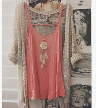 loose and open knit cardigan